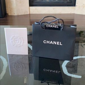 Chanel mini shopping bag and receipt holder card